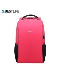 Rucsac pentru  laptop de 15,6 ″, cu fermoar   antifurt  și  conectori USB și Type-C rosu