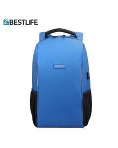 Rucsac pentru  laptop de 15,6 ″, cu fermoar   antifurt  și  conectori USB și Type-C albastru